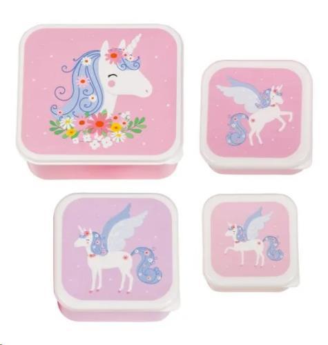 A Little Lovely Company - Lunch & snack box set: Unicorn
