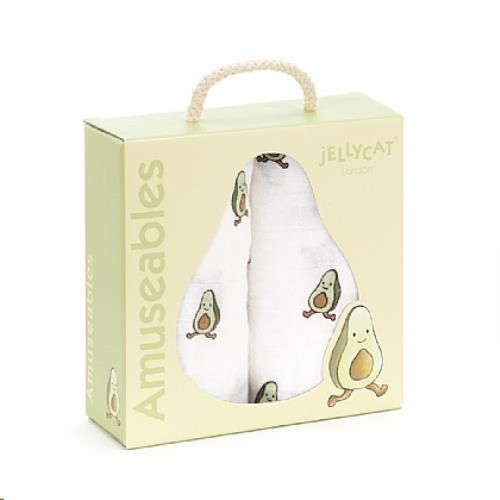Jellycat - Amuseable Avocado Pair Of Muslins