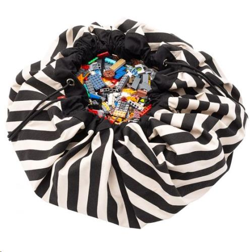 Play & Go - Opbergzak - Speelmat Strepen Zwart